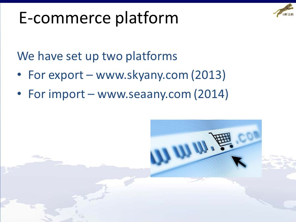 E-commerce platform We have set up two platforms