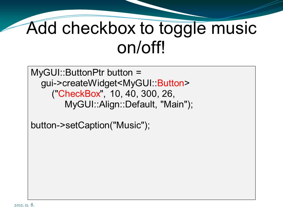 Add checkbox to toggle music on/off!