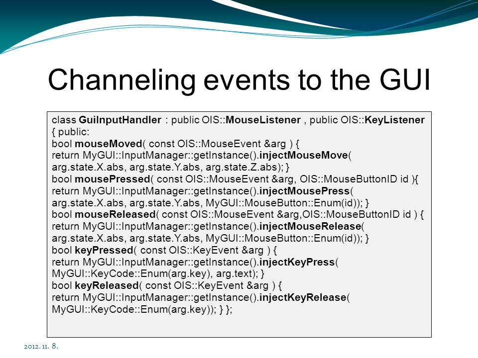 Channeling events to the GUI