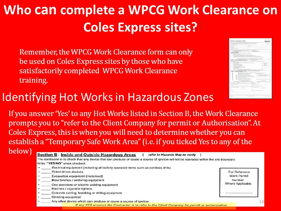 Who can complete a WPCG Work Clearance on Coles Express sites