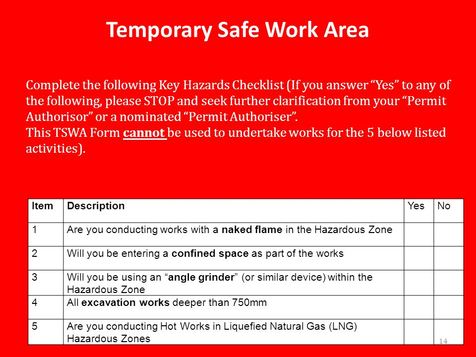 Temporary Safe Work Area