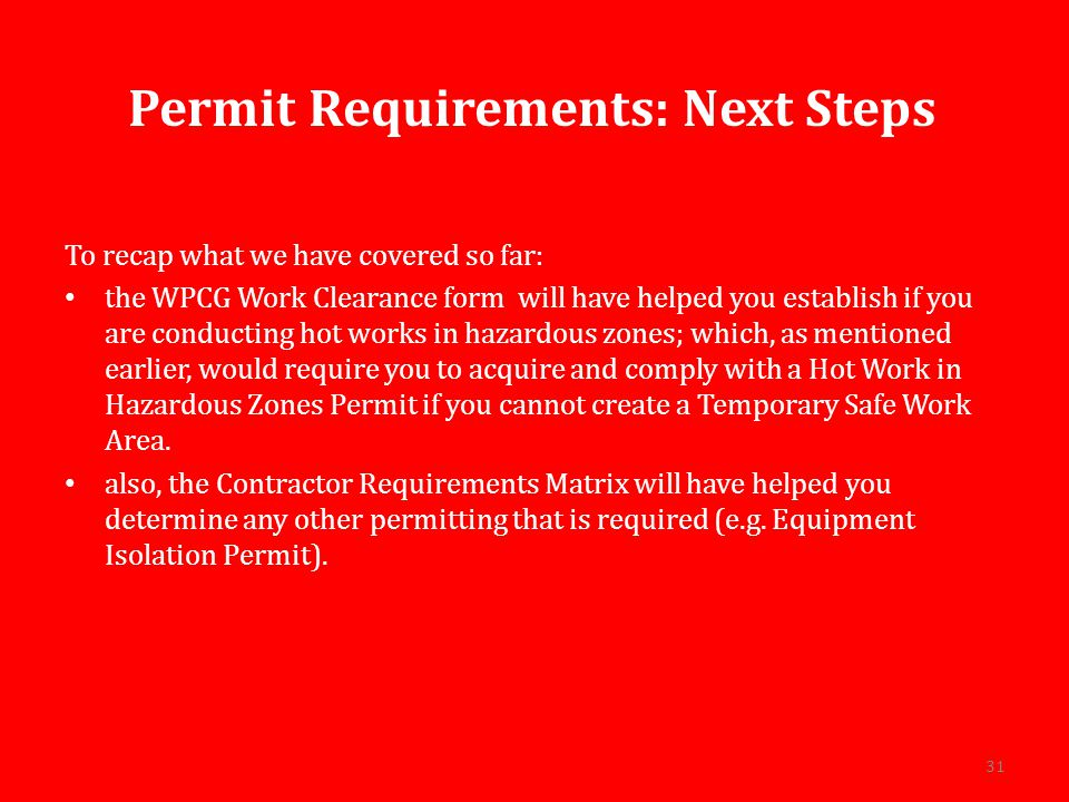 Permit Requirements: Next Steps