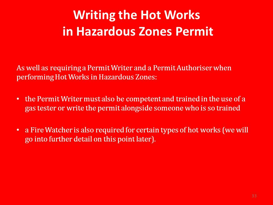 in Hazardous Zones Permit