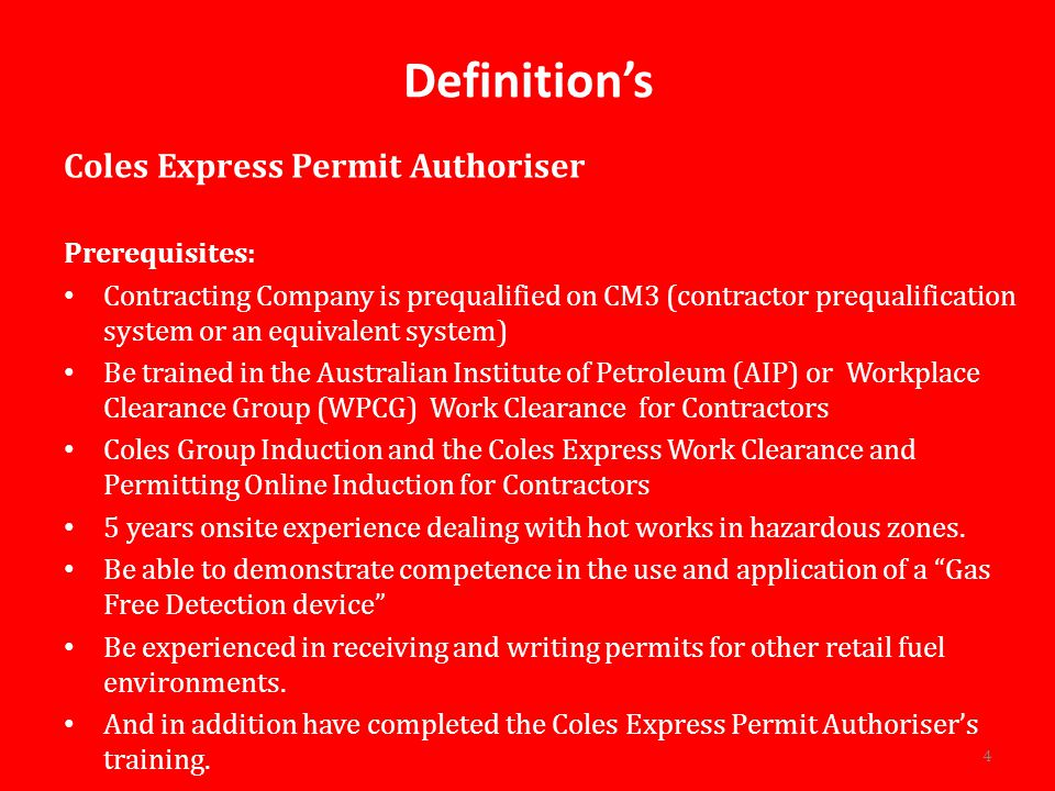 Definition's Coles Express Permit Authoriser Prerequisites: