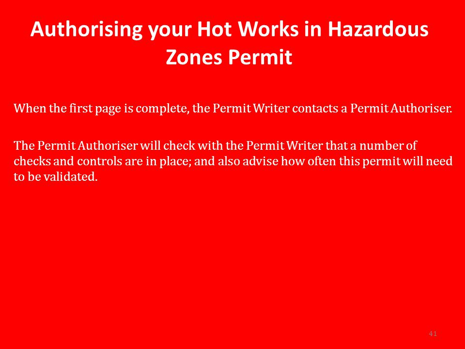 Authorising your Hot Works in Hazardous Zones Permit