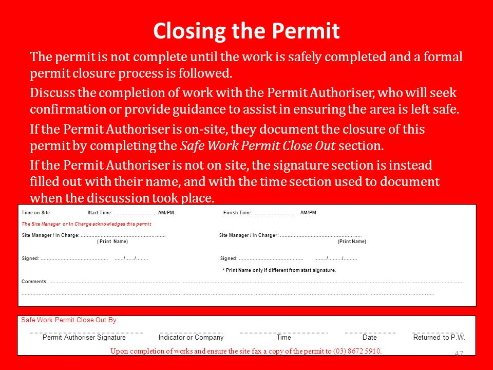 Permit Authoriser Signature