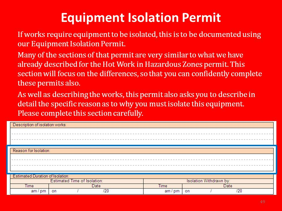 Equipment Isolation Permit