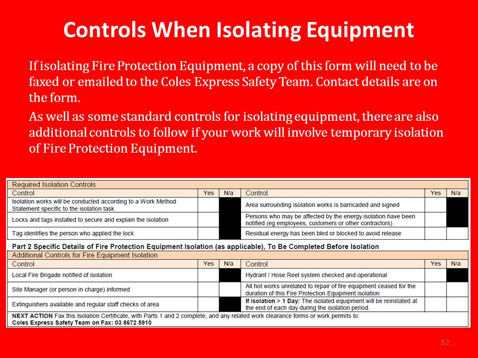 Controls When Isolating Equipment