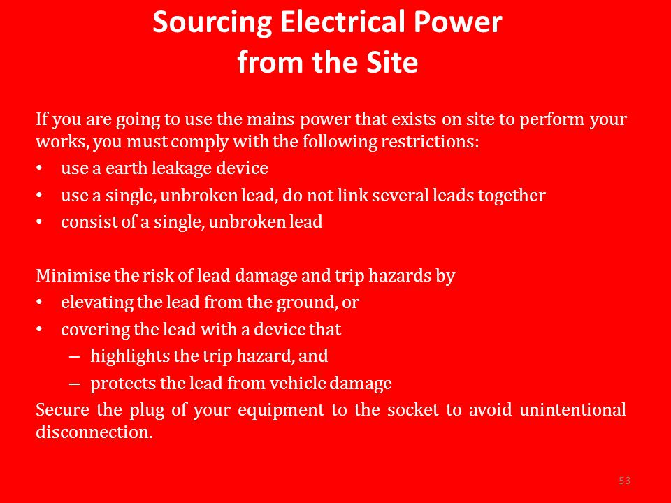 Sourcing Electrical Power from the Site