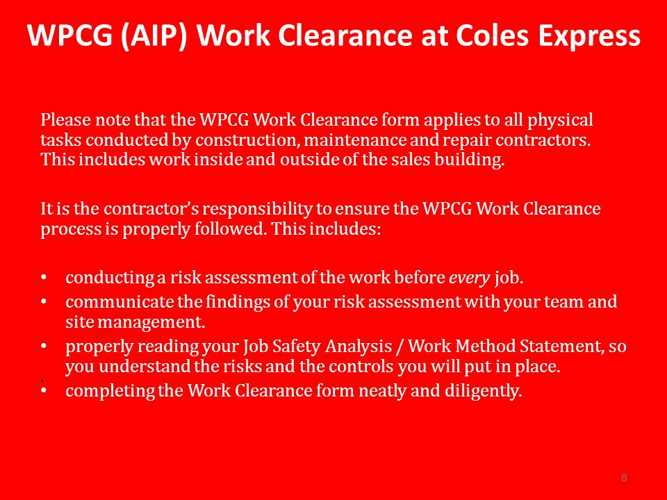 WPCG (AIP) Work Clearance at Coles Express