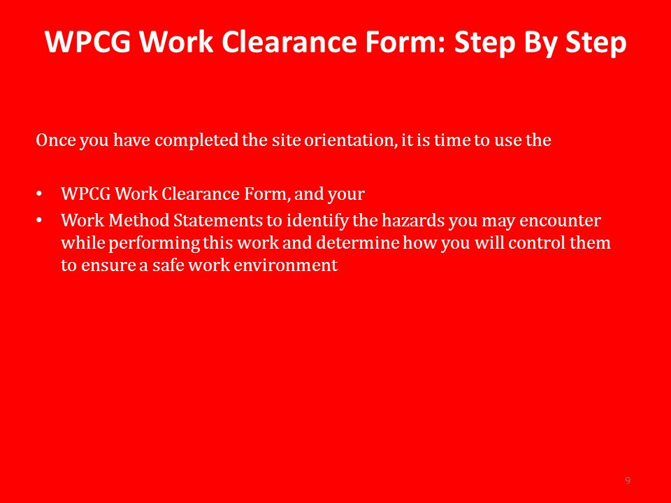 WPCG Work Clearance Form: Step By Step