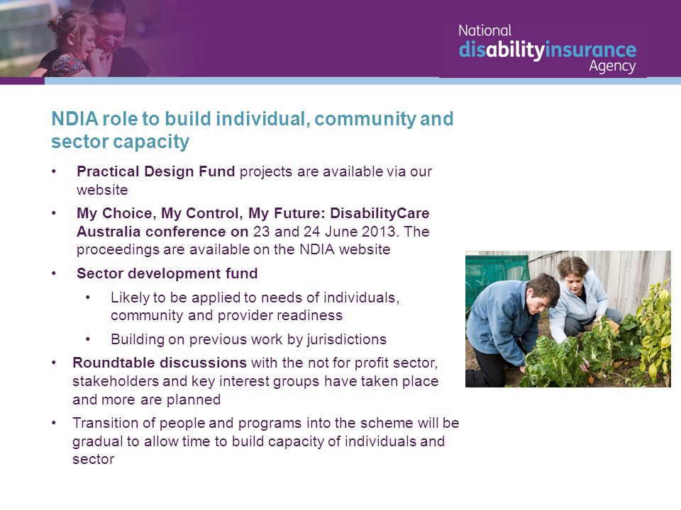 NDIA role to build individual, community and sector capacity