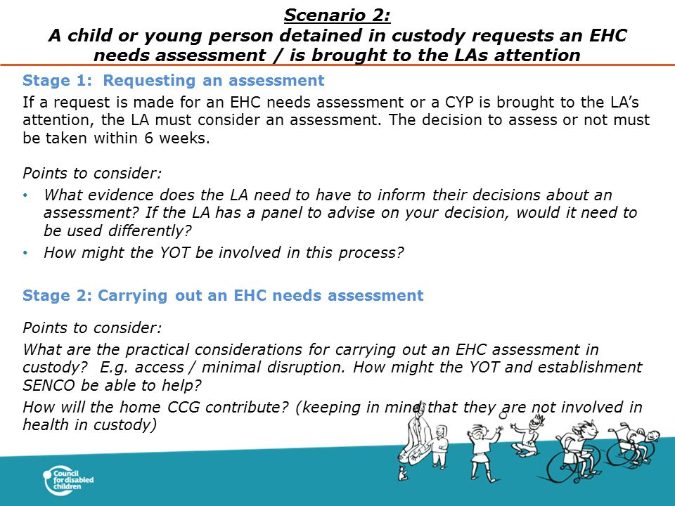 Scenario 2: A child or young person detained in custody requests an EHC needs assessment / is brought to the LAs attention