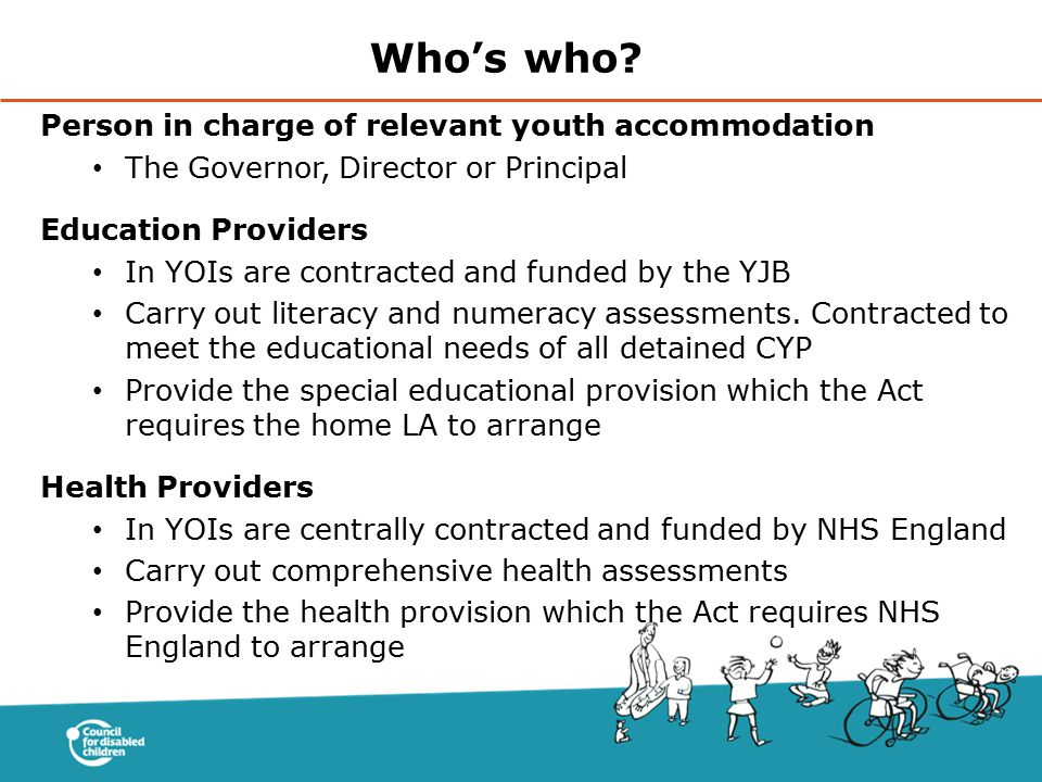 Who's who Person in charge of relevant youth accommodation