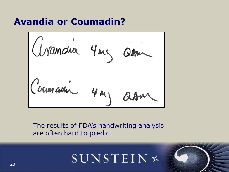 Avandia or Coumadin The results of FDA's handwriting analysis are often hard to predict
