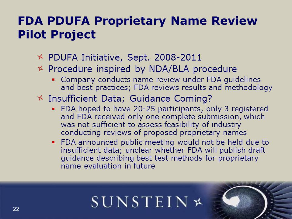 FDA PDUFA Proprietary Name Review Pilot Project