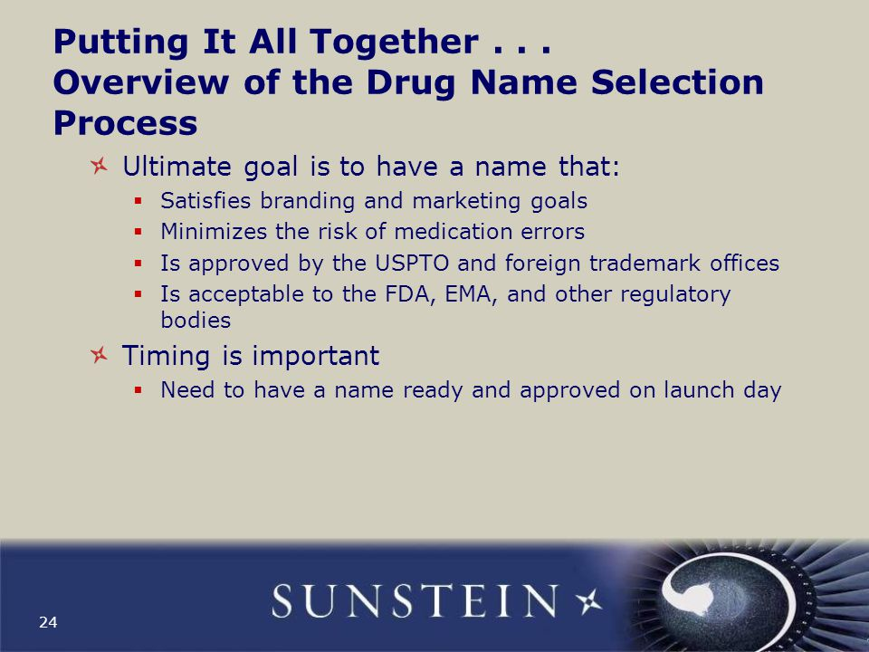 Putting It All Together . . . Overview of the Drug Name Selection Process
