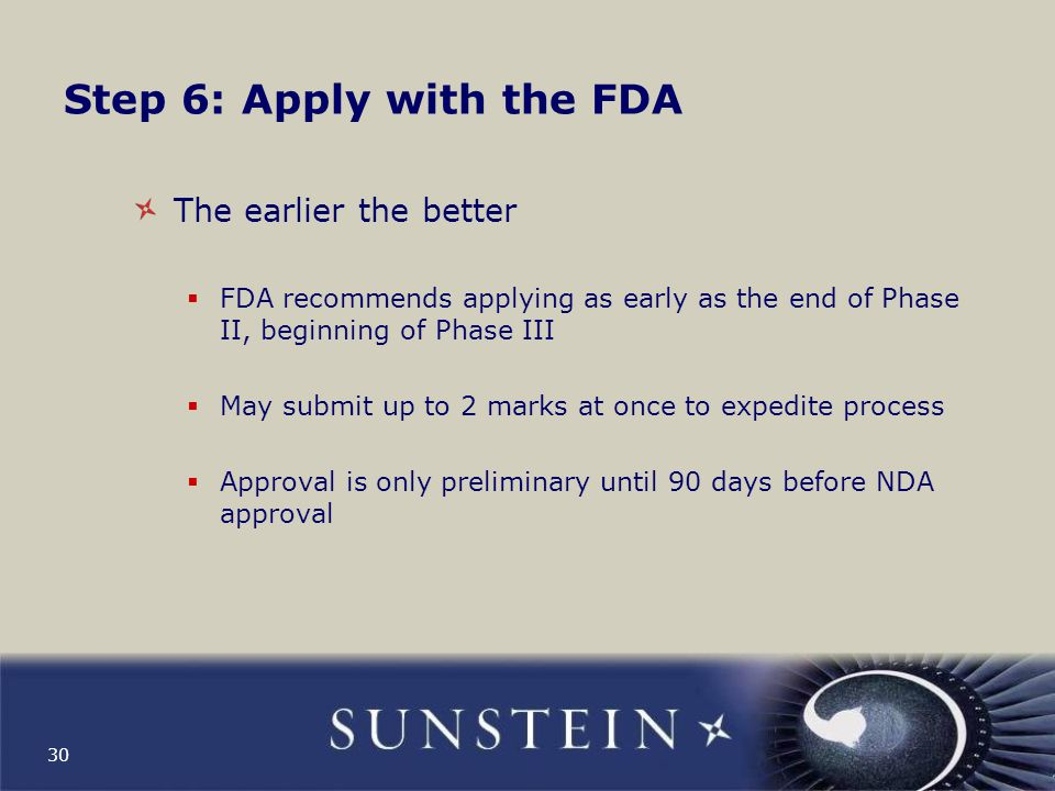 Step 6: Apply with the FDA