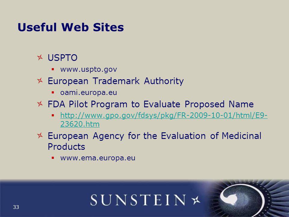 Useful Web Sites USPTO European Trademark Authority