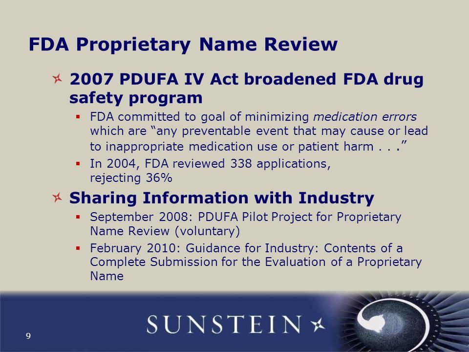 FDA Proprietary Name Review