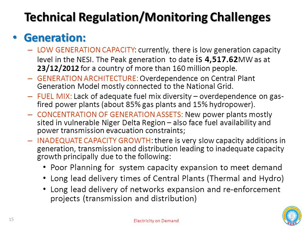 Technical Regulation/Monitoring Challenges