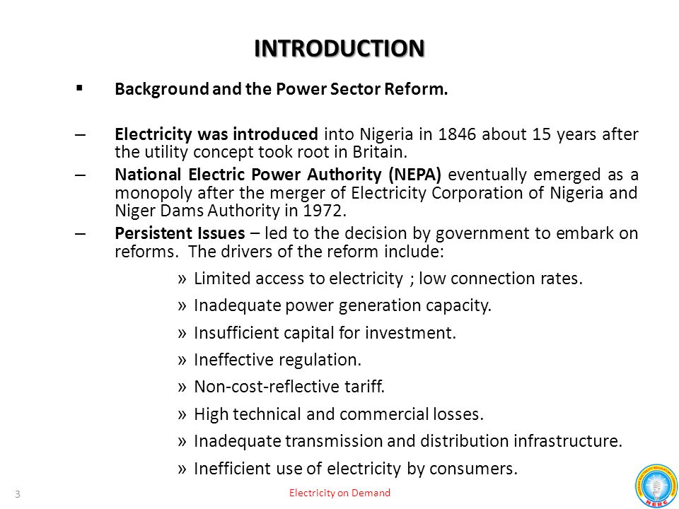 INTRODUCTION Background and the Power Sector Reform.