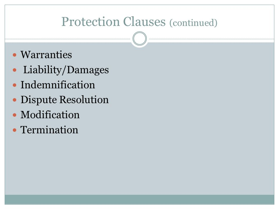 Protection Clauses (continued)