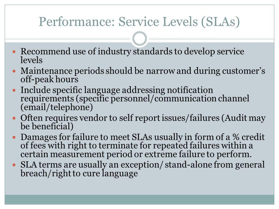 Performance: Service Levels (SLAs)