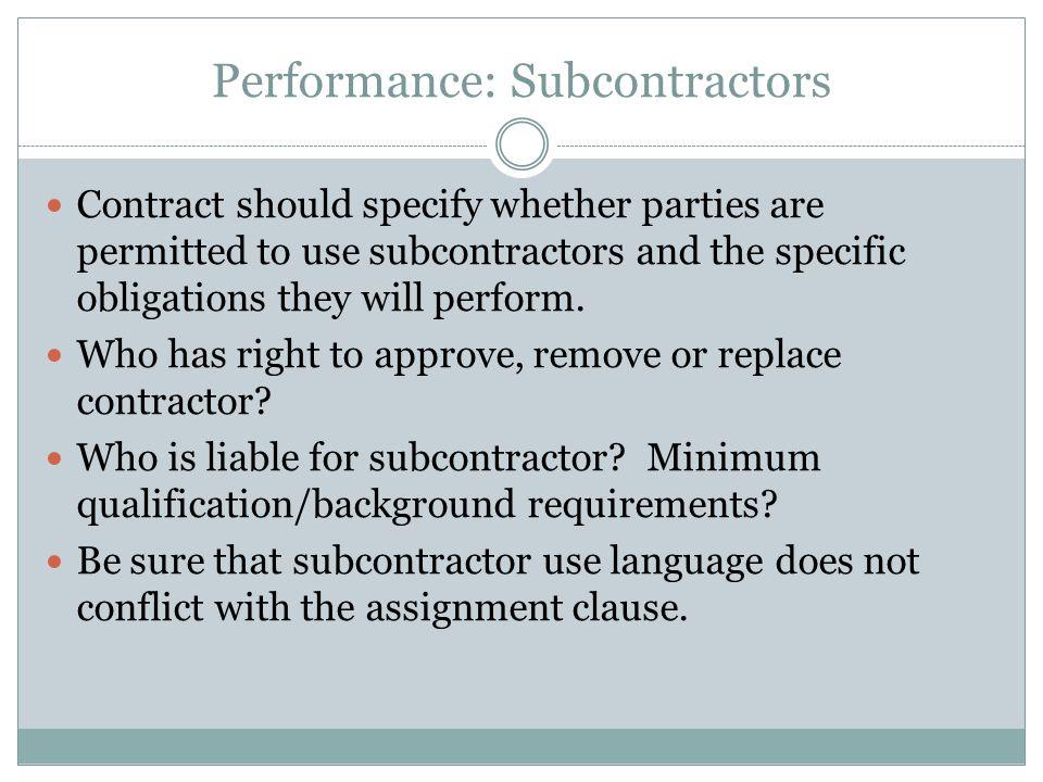 Performance: Subcontractors