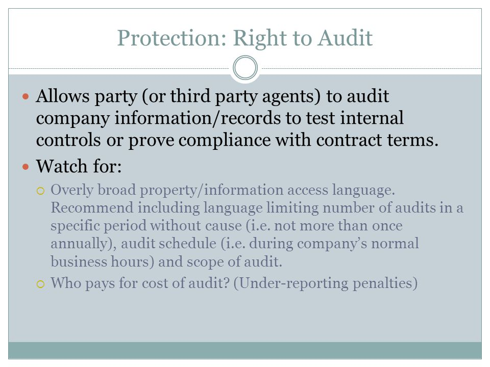 Protection: Right to Audit