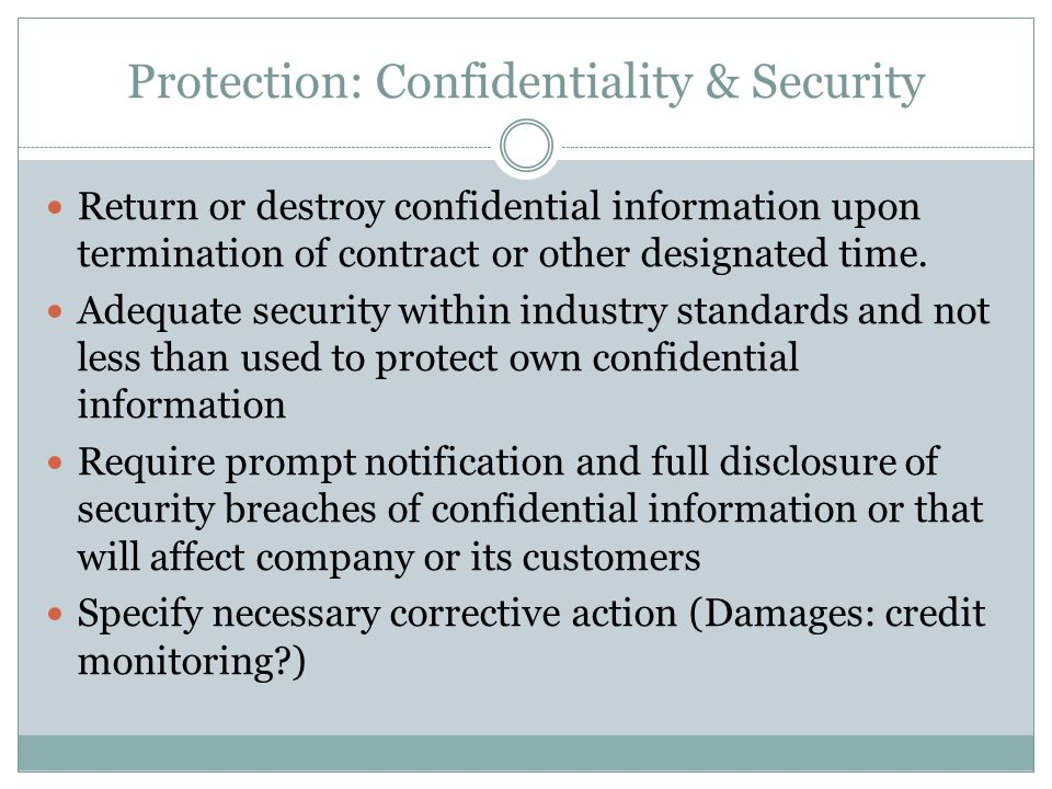 Protection: Confidentiality & Security