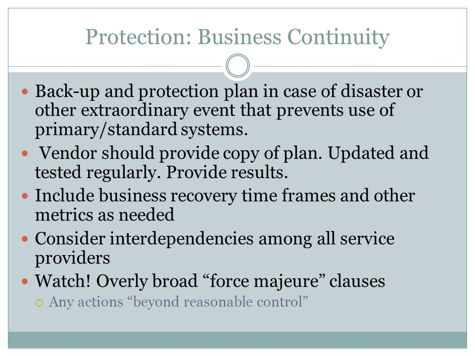 Protection: Business Continuity