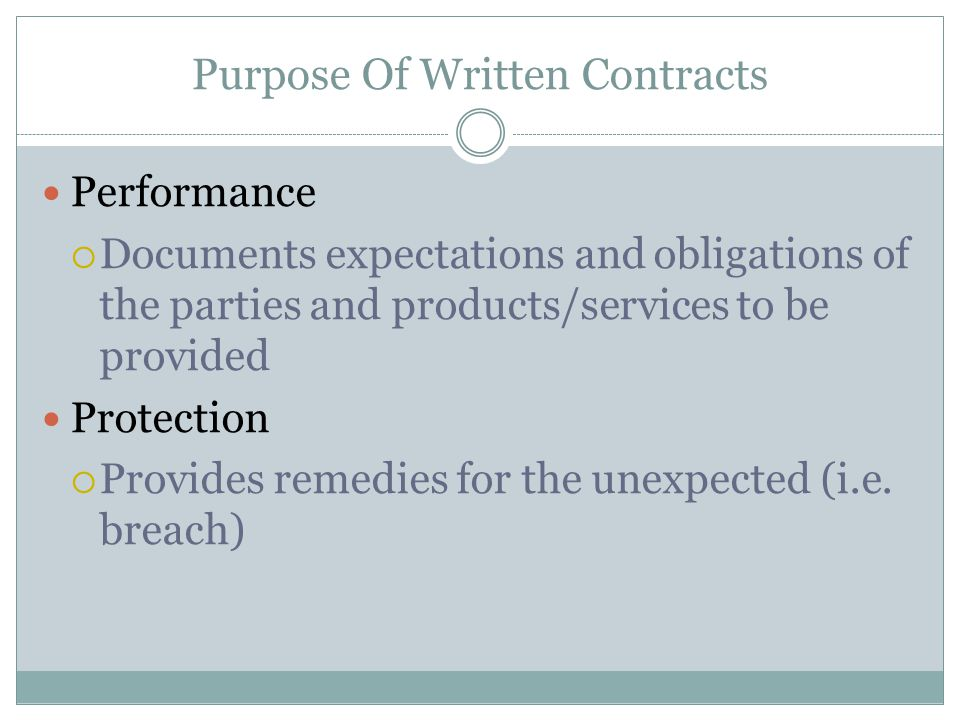 Purpose Of Written Contracts