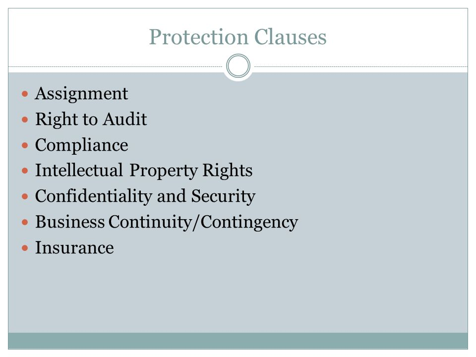 Protection Clauses Assignment Right to Audit Compliance