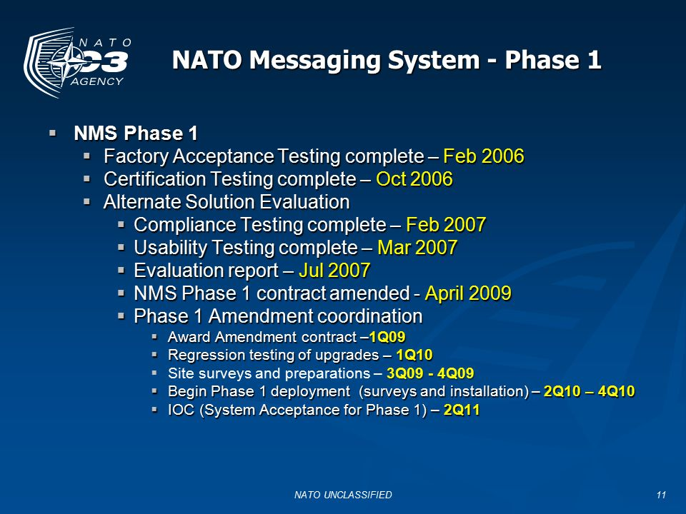 NATO Messaging System - Phase 1
