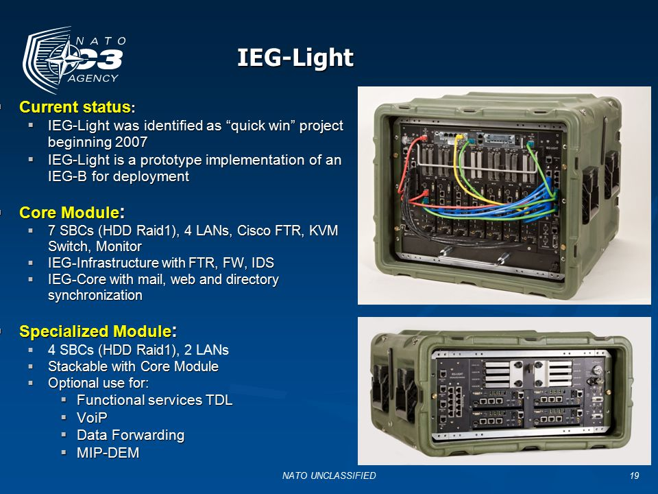 IEG-Light Functional requirements Interface requirements