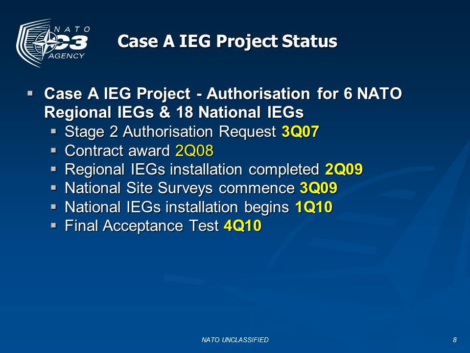 Case A IEG Project Status