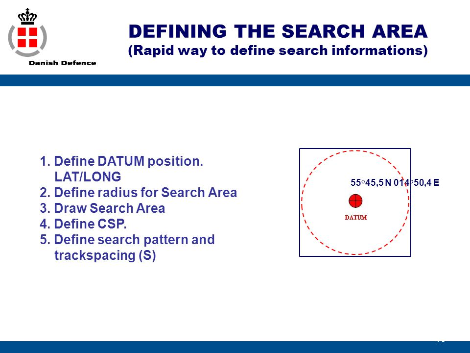 DEFINING THE SEARCH AREA (Rapid way to define search informations)