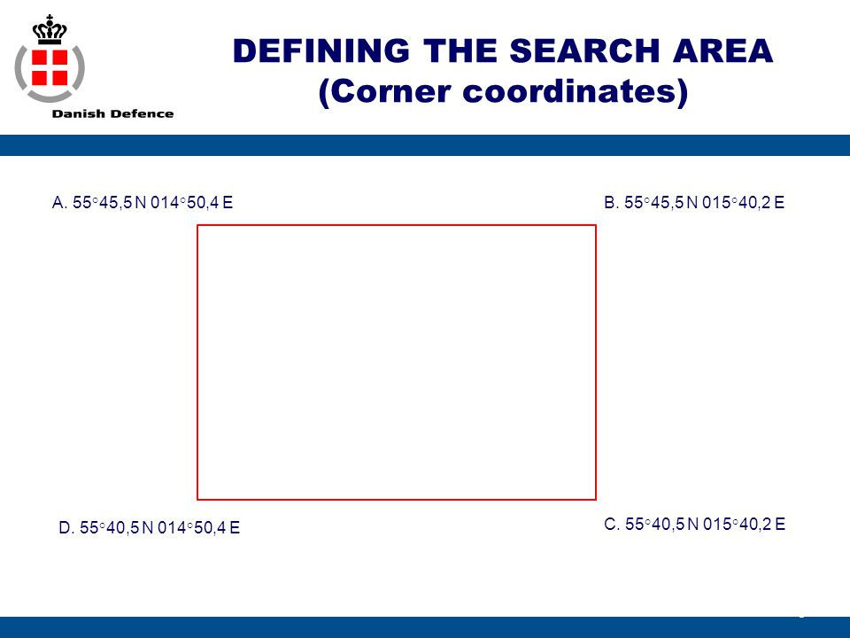 DEFINING THE SEARCH AREA (Corner coordinates)