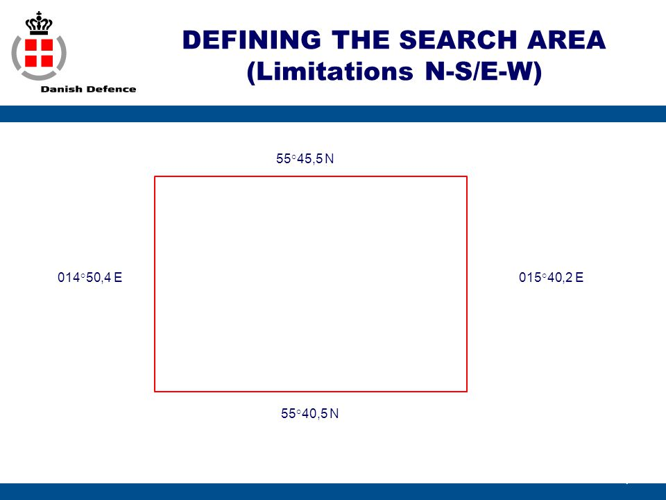 DEFINING THE SEARCH AREA (Limitations N-S/E-W)