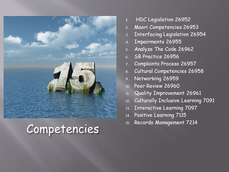 Competencies HDC Legislation 26952 Maori Competencies 26953
