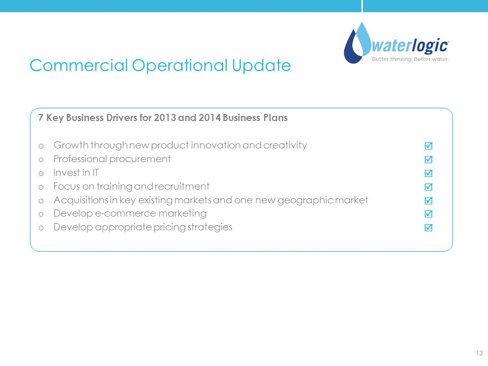 Commercial Operational Update