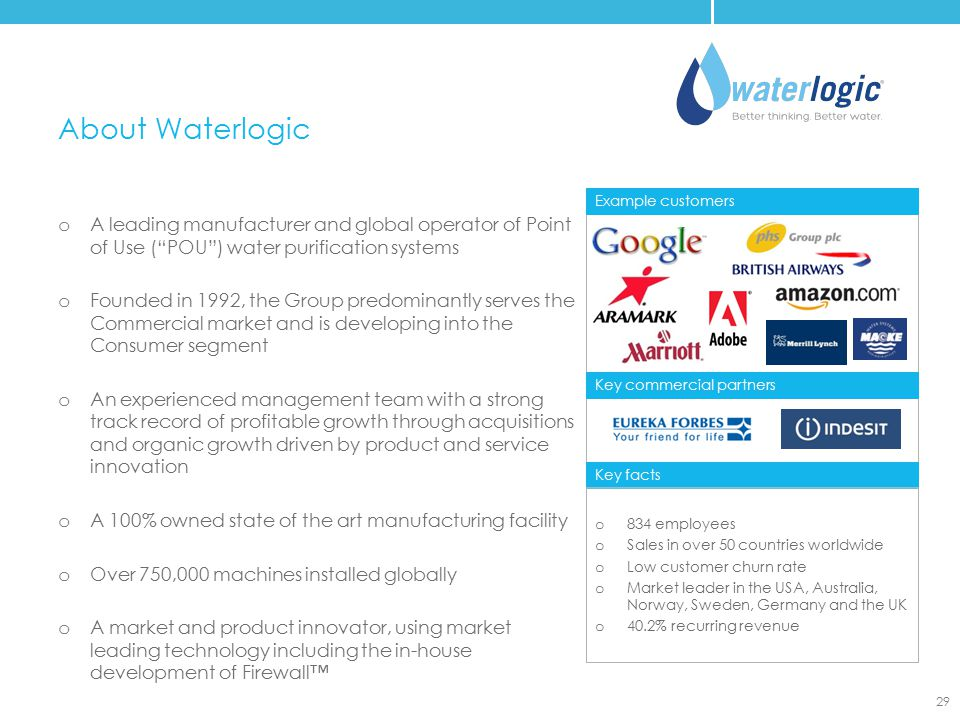 – About Waterlogic. Example customers. A leading manufacturer and global operator of Point of Use ( POU ) water purification systems.