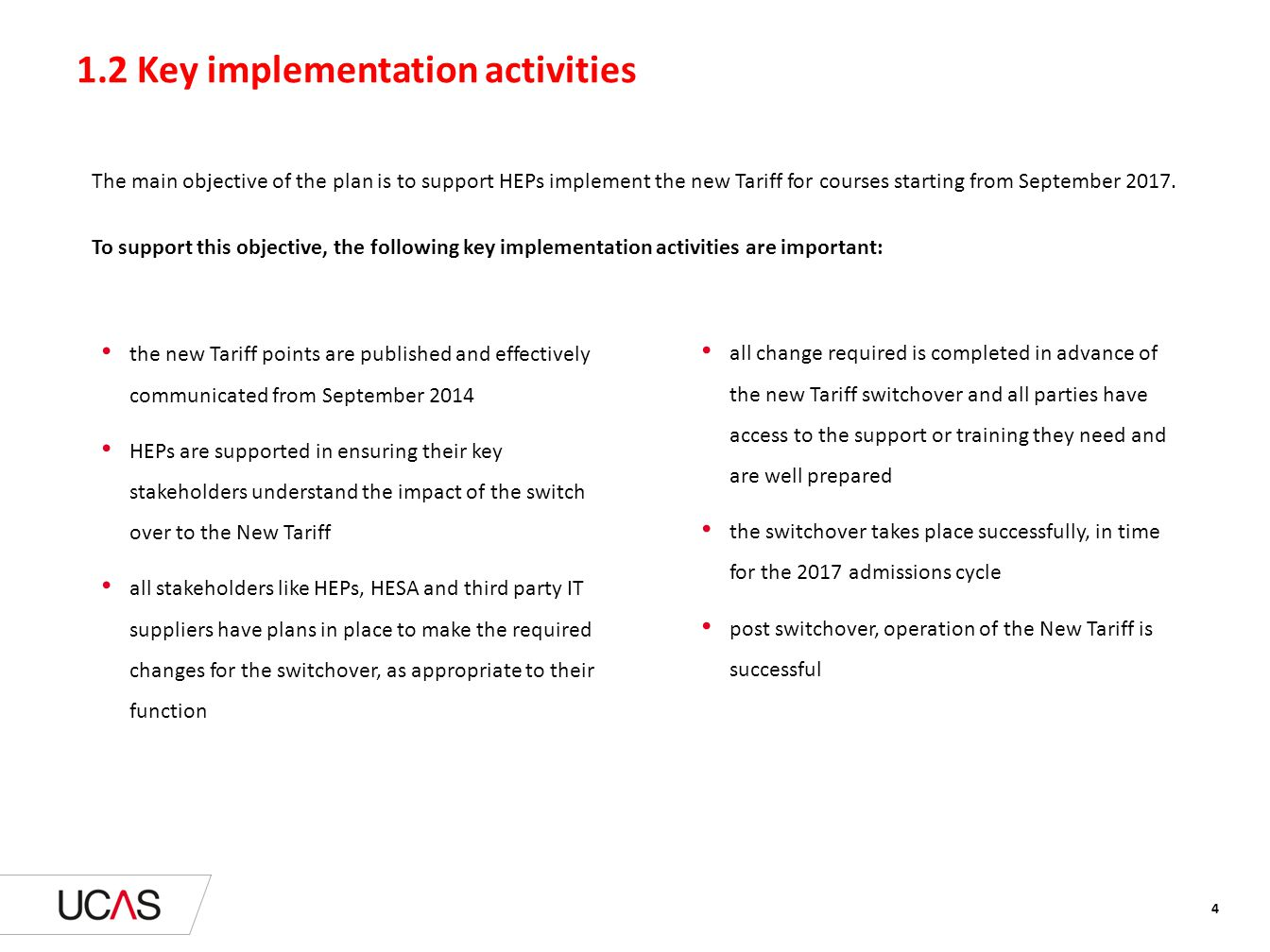 1.2 Key implementation activities