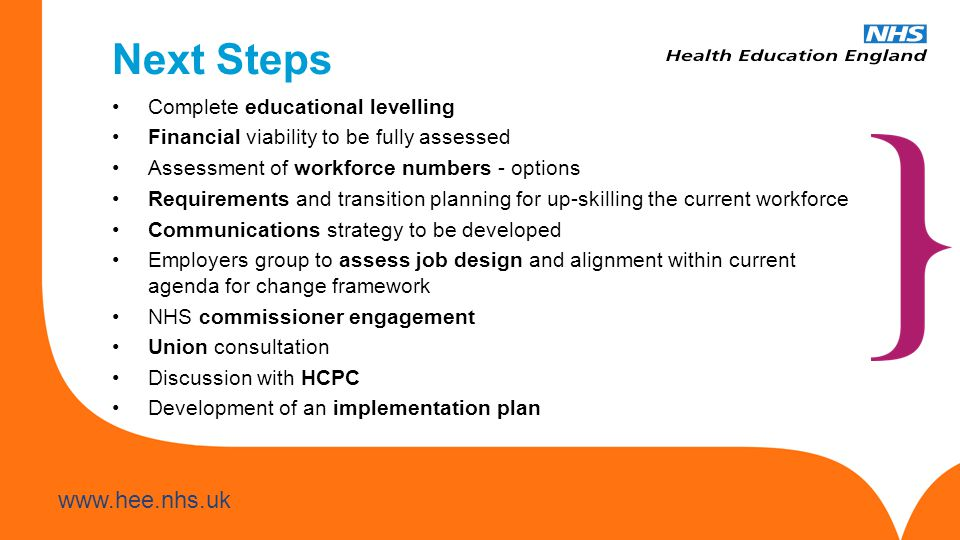 Next Steps Complete educational levelling