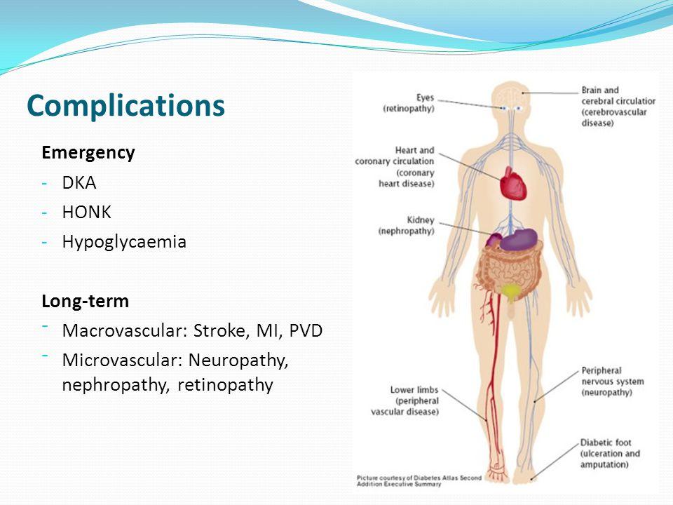 Complications Emergency DKA HONK Hypoglycaemia Long-term