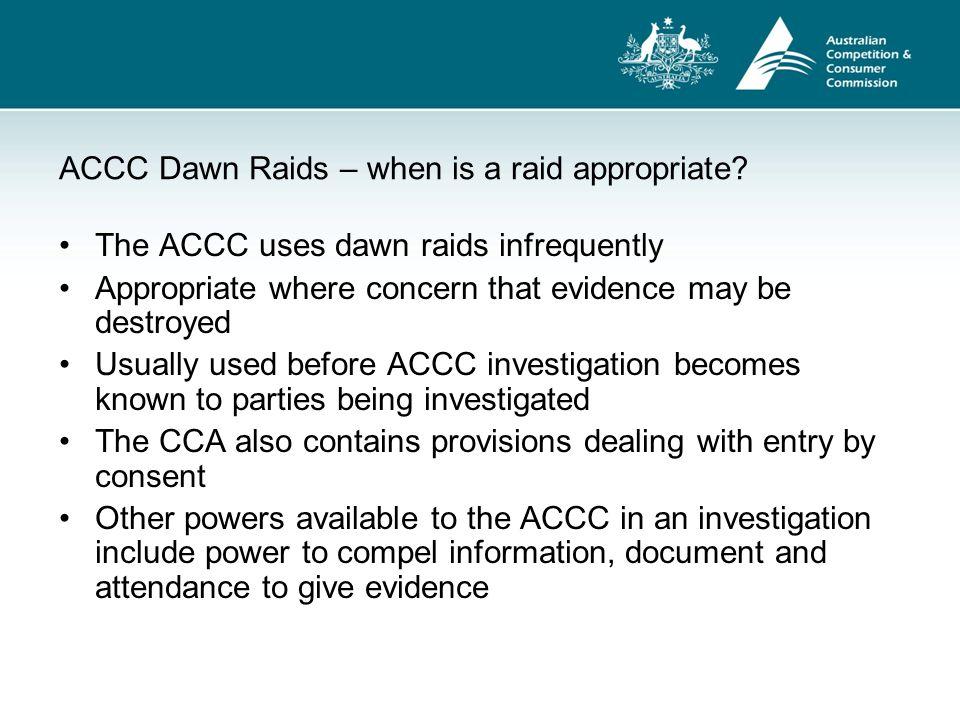 ACCC Dawn Raids – when is a raid appropriate