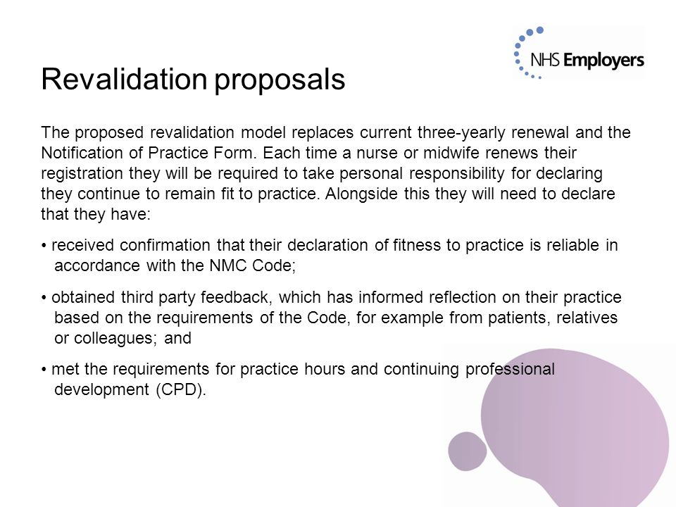 Revalidation proposals