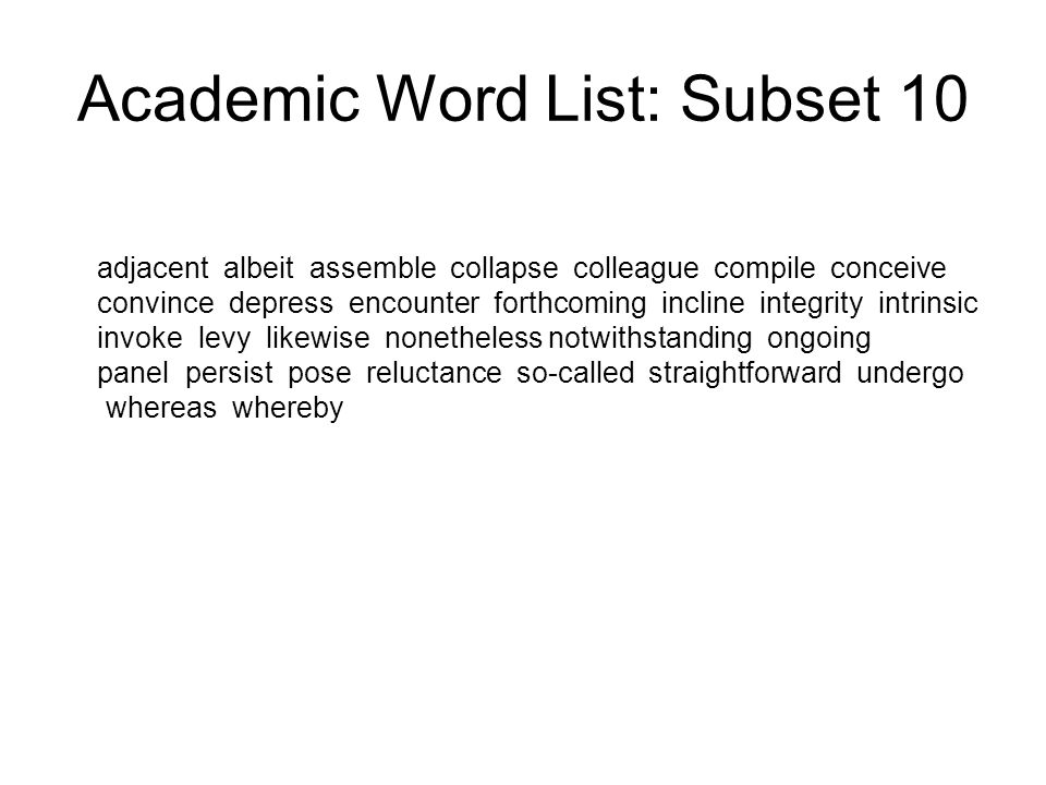 Academic Word List: Subset 10
