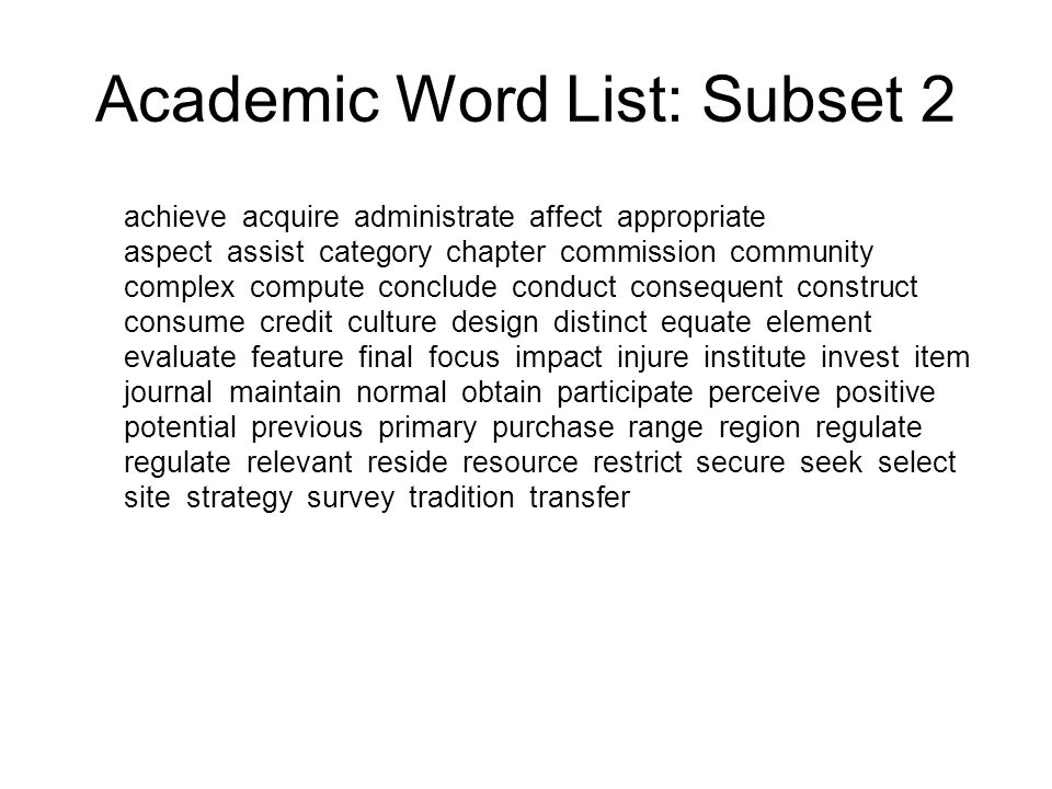 Academic Word List: Subset 2